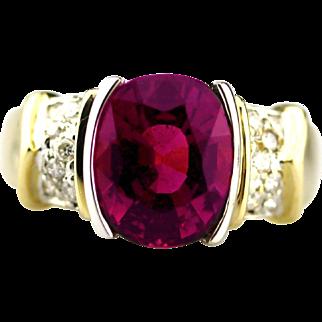 Rubellite Pink Tourmaline Diamond Ring in 14KT Yellow Gold