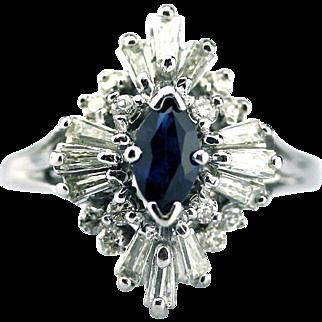 Elegant Blue Sapphire Diamond Ring 14KT White Gold