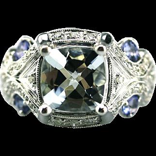 Aquamarine, Tanzanite and Diamond Ring in 14KT White Gold