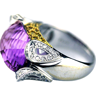 Unique Fancy Cut Amethyst, Diamond and Yellow Sapphire Cocktail Ring in 18KT Gold
