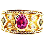 Rubellite Pink and Chrome Tourmaline Diamond Ring in 14KT Yellow Gold