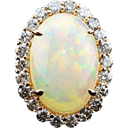 Gorgeous Natural Ethiopian Opal and Diamonds Ring in 14KT Rose Gold