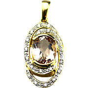 Natural Pink Morganite and Diamond Pendant in 18KT Yellow Gold