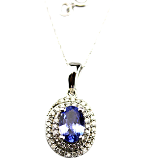 Natural Tanzanite and Diamond Necklace in 14KT White Gold