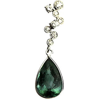Paraiba Tourmaline and Bubble Diamonds Necklace in 18KT White Gold