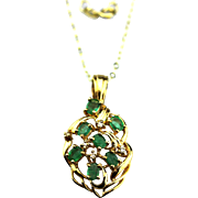 Natural Colombian Emerald and Diamond Necklace 14KT Yellow Gold
