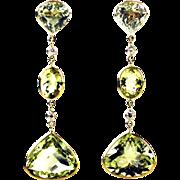 43CT Yellow and Green Beryl Aquamarine and Diamonds Earrings 14KT Yellow Gold