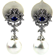 17 mm Cultured South Sea Pearls and Diamonds Ceylon Sapphire Earrings 14KT White Gold