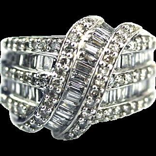 Bold Elegant Modern Natural Baguette Diamond Cocktail Ring