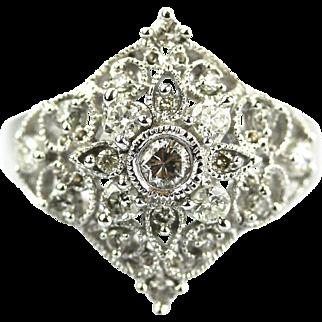 Elegant Filigree Natural Diamond Cocktail Ring in 14KT White Gold