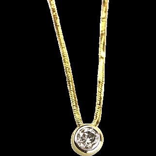 Italian Modern Diamond Bezel Necklace 14KT Yellow Gold