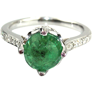 Rose Cut Colombian Emerald and Diamond 18KT White Gold Ring