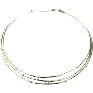 Modern White Diamond Choker Necklace 18KT White Gold