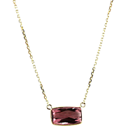 Natural Rubellite Pink Tourmaline Pendant Necklace in 14KT Yellow Gold