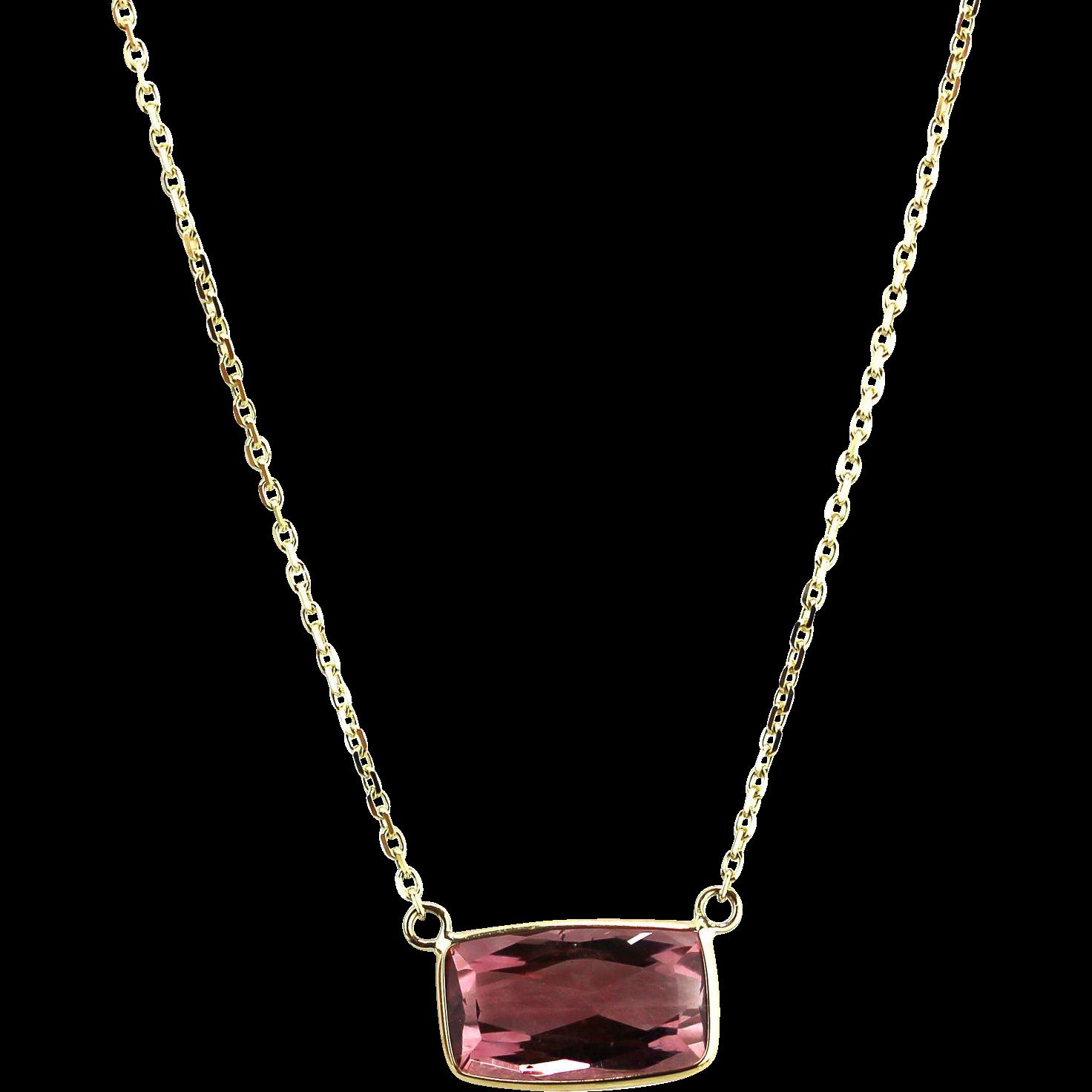 natural rubellite pink tourmaline pendant necklace in 14kt. Black Bedroom Furniture Sets. Home Design Ideas