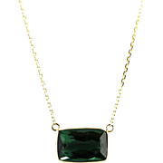 Natural Chrome Tourmaline Pendant Necklace in 14KT Yellow Gold