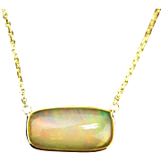 14kt Gold 6CT Natural Ethiopian Opal Handmade Bezel Set Necklace