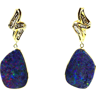 Natural Australian Opal and Diamonds Earrings in 18KT Yellow Gold