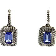 Natural Tanzanite and Diamonds Earrings in 14KT White Gold