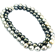 Genuine Platinum and Steel Cultured Tahitian Pearls and Diamonds Necklace 14KT Gold