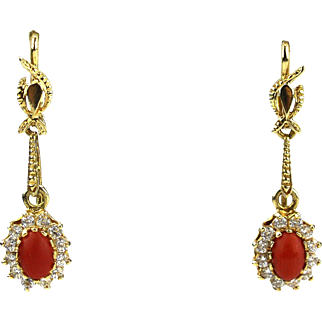 Vintage Natural Italian Red Coral Earrings 14KT Gold
