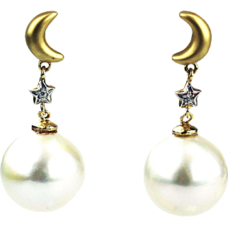 14 mm Cultured South Sea Pearls Diamonds Moon and Stars Earrings 14KT White Gold