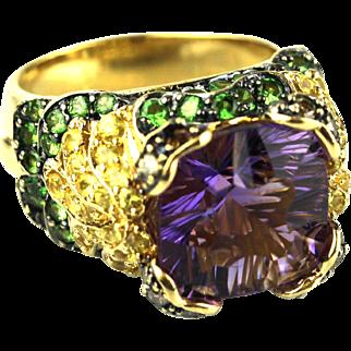 Natural Amethyst, Yellow Sapphire, Tsavorite and Chocolate Diamond 14KT Yellow Gold Ring