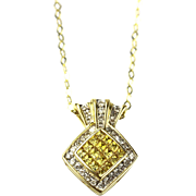 Modern Diamond and Yellow Sapphire Necklace 14KT Yellow Gold