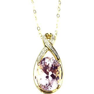 Natural Pink Kunzite and Diamond Pendant and Necklace