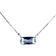 4.5CT Natural Aquamarine and Diamond Necklace in 14KT White Gold