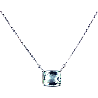 5CT Natural Aquamarine and Diamond Necklace in 14KT White Gold