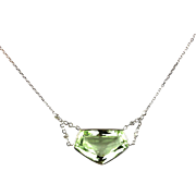13.5CT Natural Green Aquamarine Beryl and Diamond Necklace in 14KT White Gold