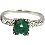 Rare Natural Rose Cut Colombian Emerald and Diamond 14KT White Gold Ring