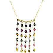 Paraiba, Rubellite, Yellow, Chrome Rainbow Tourmaline and Diamonds Necklace in 18KT Yellow Gold