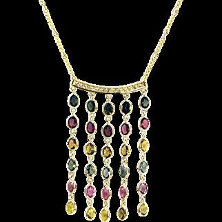 Paraiba, Rubellite, Yellow, Chrome Rainbow Tourmaline and Diamonds Necklace in 18KT Yellow Gold