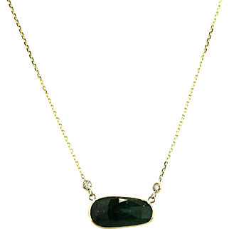 8 CT Natural Rose Cut Colombian Emerald and Diamond Necklace 14KT Yellow Gold