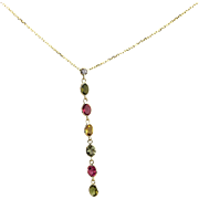 Paraiba, Rubellite, Yellow, Chrome Rainbow Tourmaline and Diamonds Necklace in 14KT Yellow Gold