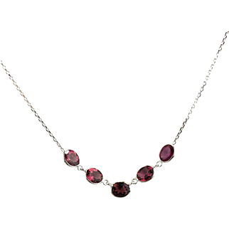 Rubellite Pink Tourmaline Necklace in 14KT White Gold