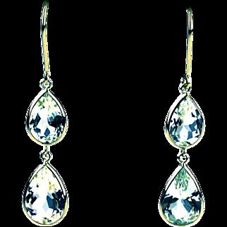 10.5CT  Aquamarine  Drop Earrings 18KT Yellow Gold