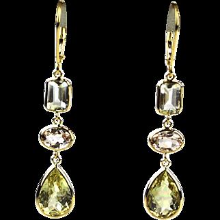 11.5 CT Morganite, Yellow Beryl and Aquamarine Earrings 18KT Yellow Gold