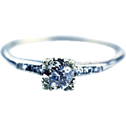 Natural European Cut Diamond Engagement Ring or Wedding Band in 14KT White Gold