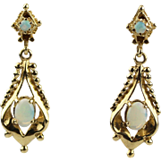 Vintage Rare Natural Australian Opal Earrings 14KT Gold