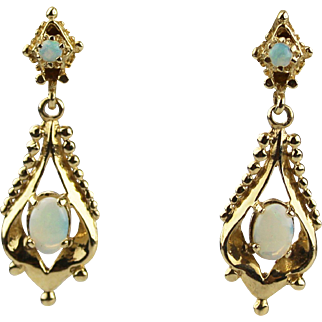 Vintage Rare Natural Australian Opal Earrings 14KT Gold