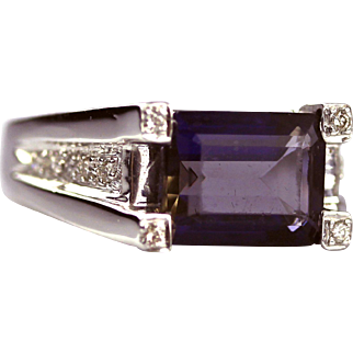 Modern Natural Iolite and Diamond Ring in 14KT Gold