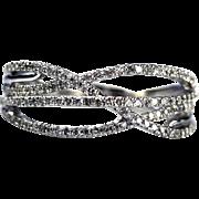 Bold Elegant Modern Natural Diamond Cocktail Ring Wedding Band 14KT White Gold