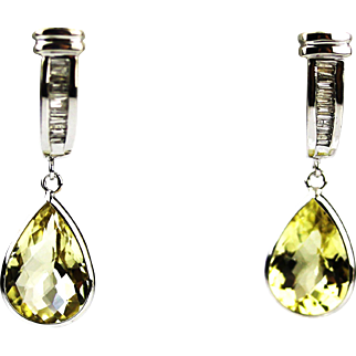 Yellow Beryl and Diamond Earrings 14KT White Gold