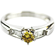 Platinum 1 CT Elegant Natural Fancy Canary Diamond Engagement Wedding Stackable Ring