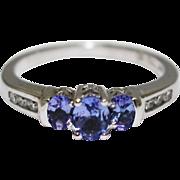 1CT Most Beautiful Natural Tanzanite Diamond Ring 14KT White Gold Ring