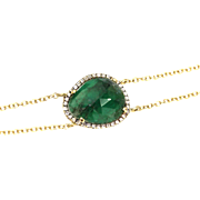 4.5 CT Colombian Emerald and Diamonds Bracelet 14 KT Yellow Gold Bracelet