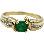 Natural Princess Cut Colombian Emerald and Diamond 14KT Yellow Gold Ring